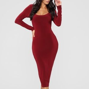 Fashion Nova Burgundy Long Sleeve Midi Dress